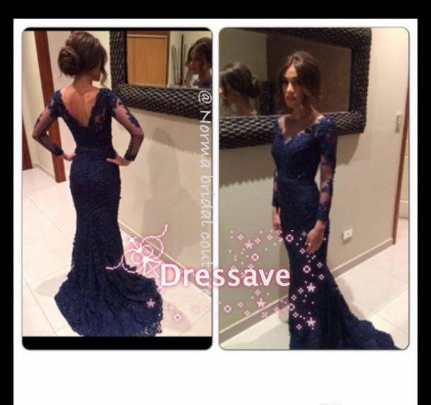 Discount hot sale long sleeve evening gowns mermaid v online with $119.7/piece