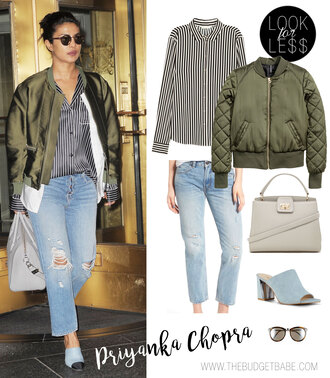 thebudgetbabe blogger shirt blouse jacket jeans bag shoes sunglasses bomber jacket khaki bomber jacket striped shirt mules spring outfits