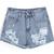 Blue Flange Ripped Denim Shorts - Sheinside.com