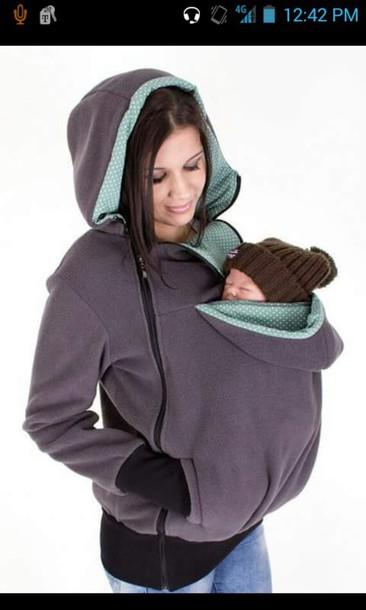 Coat Jacket Grey Sweater Baby Wear Baby Carrier