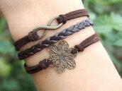 jewels,infinity,flowers,bracelets,charm,brown,jewelry,skullbronze colour