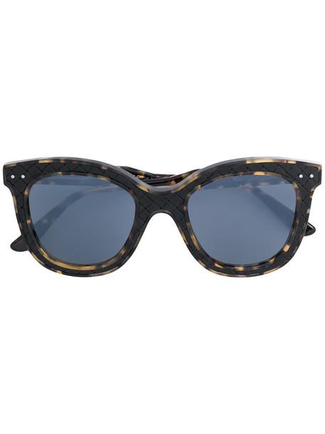 Bottega Veneta Eyewear - square frame woven detail sunglasses - women - Leather/Acetate - 50, Black, Leather/Acetate