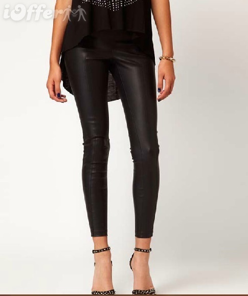 Soft black pu leather leggings women pants ha667 for sale