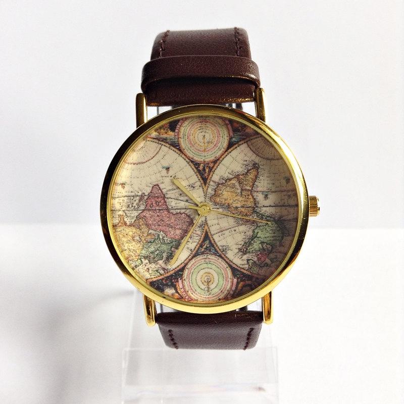 Genuine Leather Map Watch, Vintage Style Leather Watch , Women Watches,Mens  Watch, Boyfriend Watch, World Map, Brown,