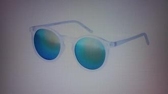sunglasses clear clear frame clear frame sunglasses multicolor rainbow blue lens shades turquoise round frame glasses round glasses sunnies shades