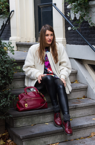 style and trouble blogger drmartens red bag winter coat leather pants