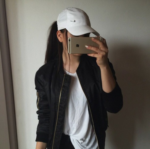jacket outfit made black bomber jacket baseball tee black fall outfits hat nike nike air white cap flat hat fancy my shit yes snapback black jacket gold zipper bomber jacket