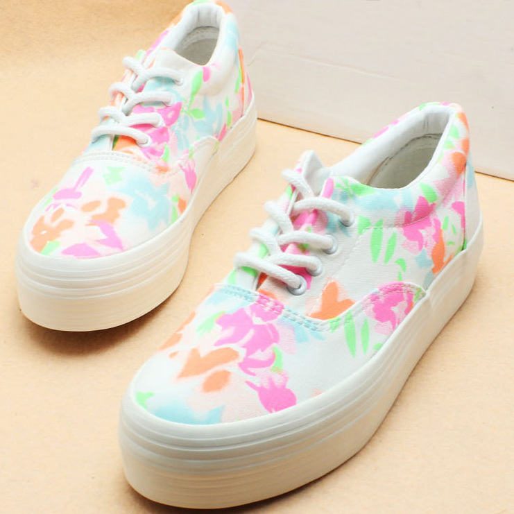 [grhmf219000037]Retro European Style Floral Print Canvas Shoes