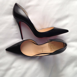 shoes black high heels cute heels black high heels fashion shiny sparkle size 8 39 black heel louboutin d'orsay pumps pumps cl red bottoms pointed toe heels