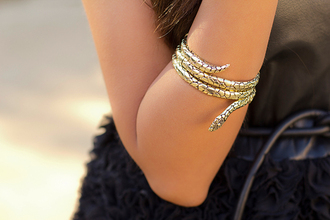 snake cuff gold black snake bracelet jewels