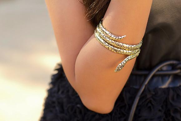 snake cuff gold black snake bracelet