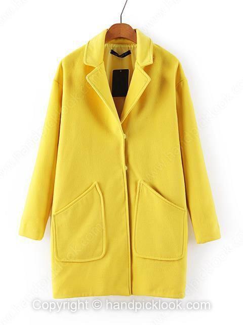 Yellow Contrast Lapel Long Sleeve Pockets Coat - HandpickLook.com