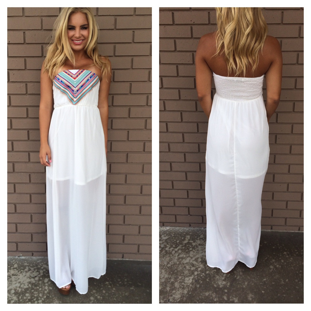 White Aztec Print Maxi Dress