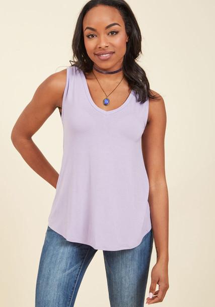 tank top top tunic style high sweet soft fashionista lilac purple