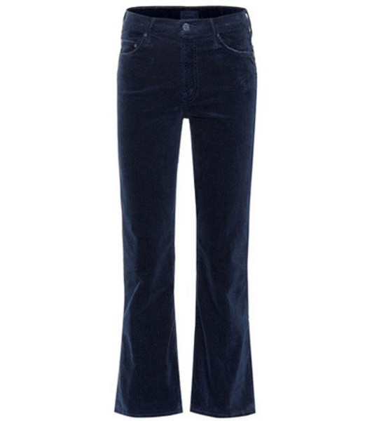 Mother The Outsider Cropped corduroy jeans in blue