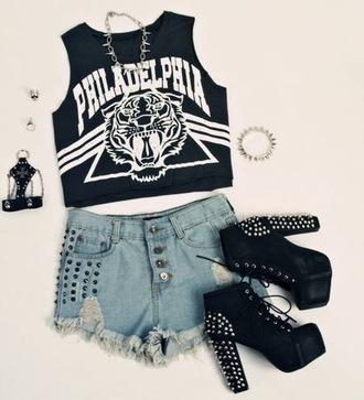 shirt philadelphia heels high heels studs studded shoes studded heels shorts denim studded shorts necklace jewels crop tops top tiger