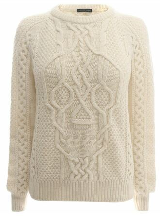 white sweater skull cream cable knit