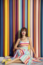 miss pandora,blogger,dress,shoes,jewels,romper,striped dress,multicolor dress,yellow shoes