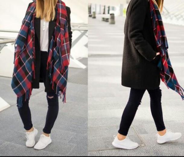 scarf tartan coat