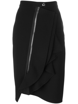 skirt ruffle women spandex black