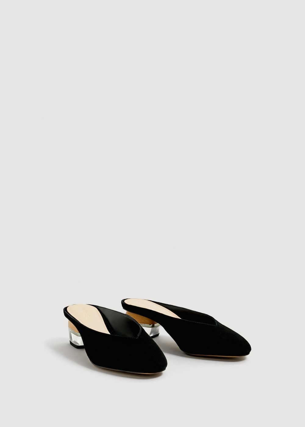 Combined heel suede mules Woman | MANGO United Kingdom