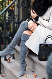 shoes,tumblr,boots,grey boots,over the knee boots,high heels boots,suede,suede boots,bag,black bag,coat,white coat