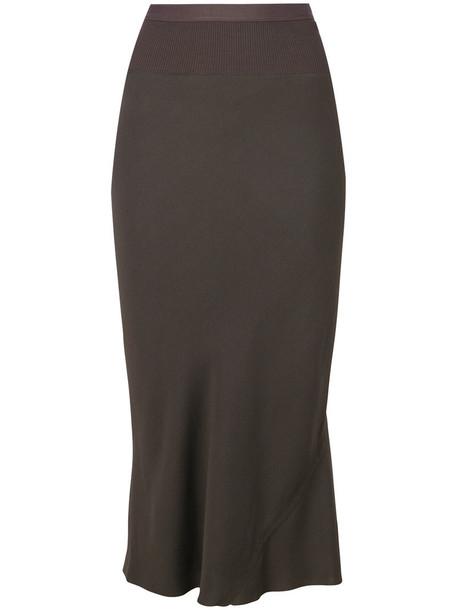 Rick Owens skirt midi skirt pleated back women midi cotton grey