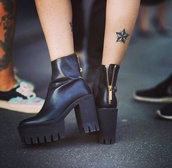 shoes,stella mccartney,boots,black,platform boots,platform shoes,indie,hipster