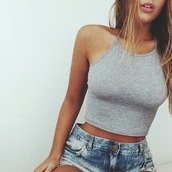 shirt,grey,top,grey t-shirt,croptoptshirt,nice,pretty,turtleneck,light pink,wow,crop tops,yoga,denim shorts,hair,amazing,summer,forever 21,crop,pink,nike,nike shoes,denim,shorts,girl,tan,swimwear,swag,fashion,ootd,tank top,halter top,style,spaghetti strap