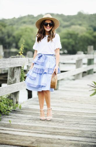dress corilynn blogger top skirt hat shoes bag sunglasses jewels