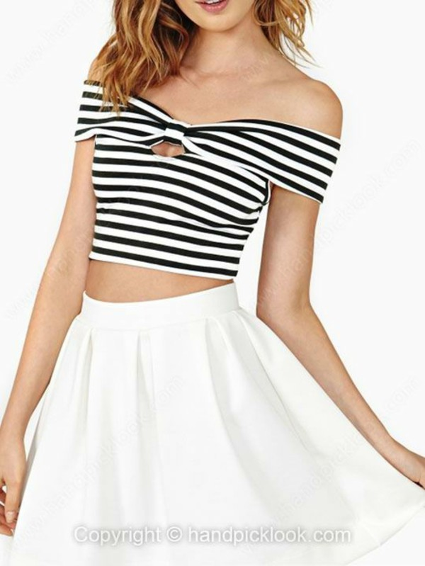 top cutout top off the shoulder off the shoulder top off the shoulder crop top crop tops off shoulder crop top stripes stripes black and white