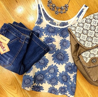 tank top top shirt flower shirt blue shirt fashion style tumblr shirt tumblr outfit
