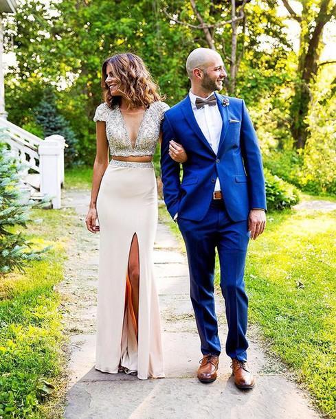 top wedding v neck skirt look sequins prom dress beaded dress white prom dress