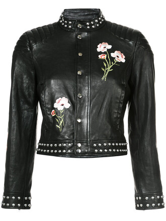 jacket embroidered jacket studded embroidered women black