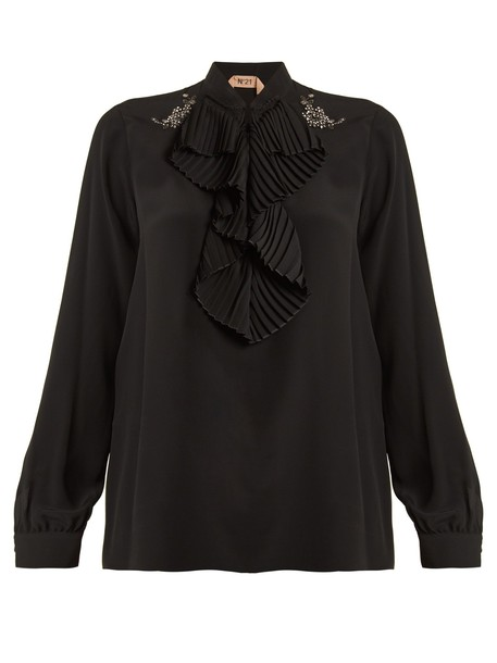 No. 21 blouse pleated ruffle black top