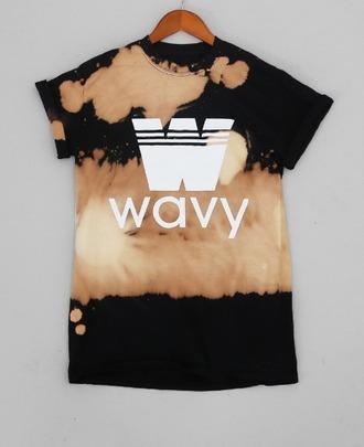 t-shirt tie dye tie dye shirt wavy black