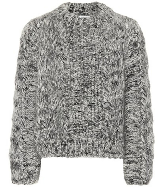 Ganni Wool and mohair sweater in grey