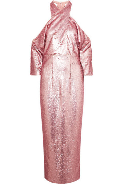 Safiyaa - Sequined Crepe Halterneck Midi Dress - Pink