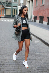 shorts,Reebok,sports bra,white sneakers,blazer,animal print,shoulder bag,earrings,black shorts