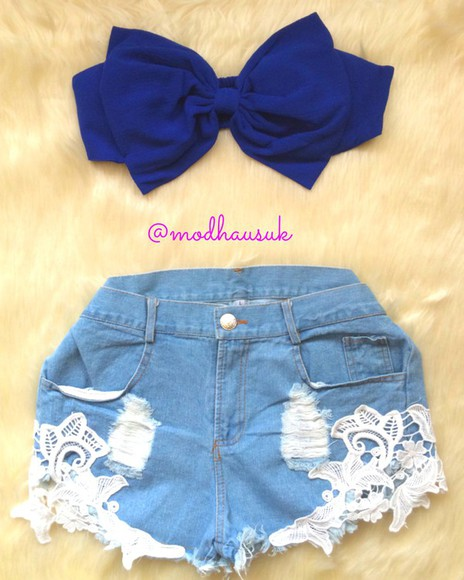 bow top top crochet shorts denim shorts