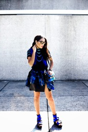 inside in inside out,jewels,top,skirt,bag,jacket,sunglasses,shoes
