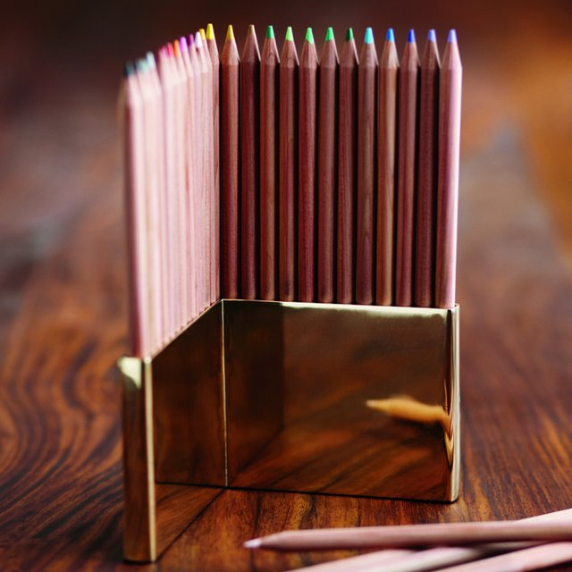 Colored Pencils & Brass Holder Set