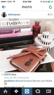 bag,alli simpson,notebook,pineapple print,book