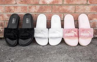 shoes puma slippers puma fenty slides slide shoes pink white black girly