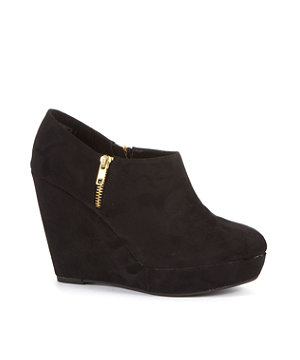 black side zip wedge shoe boots