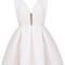White v neck backless midriff flare dress - sheinside.com