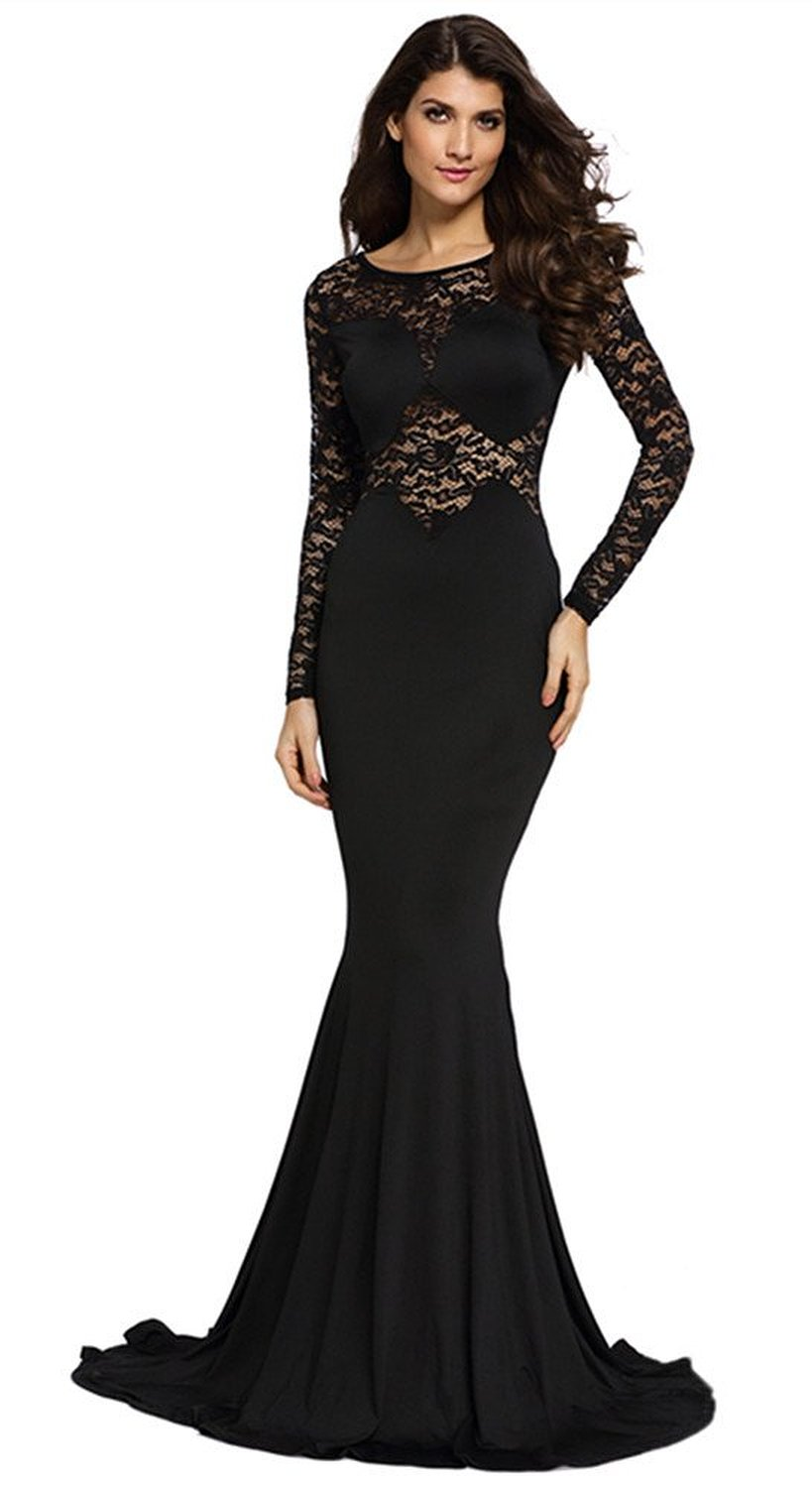 Amazon.com: Cfanny Women's Lace Sleeves Mermaid Prom Evening Dress: Clothing