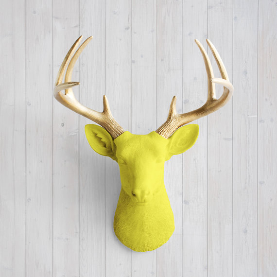 Wall Charmers™ Deer in Yellow Gold Antler - Faux Head Fake Animal ...