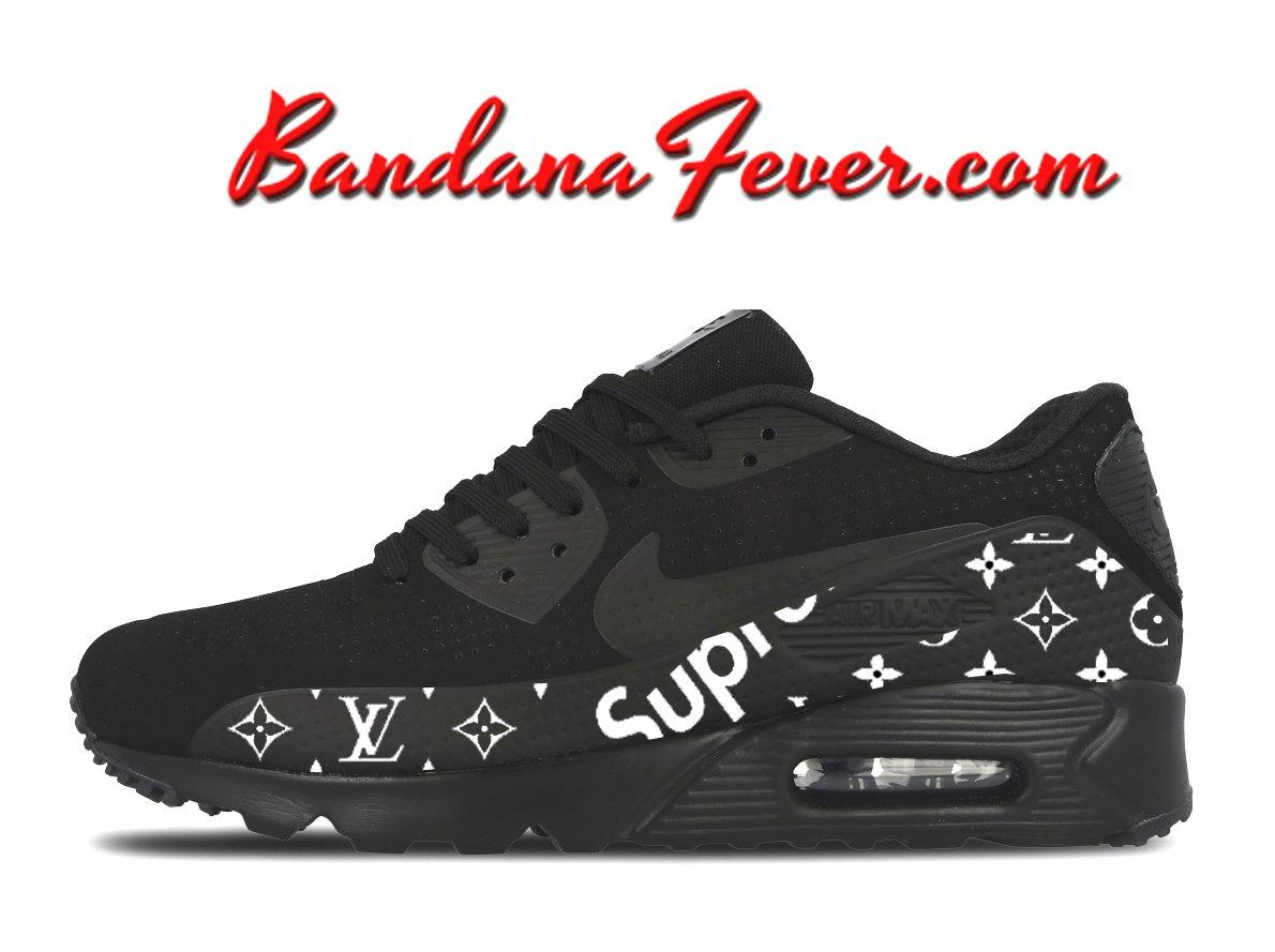 74100c139 Custom Supreme Monogram Nike Air Max 90 Shoes Ultra Black, #fashion,  #supremelv, by Bandana Fever