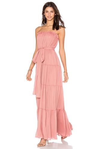 gown strapless chiffon rust